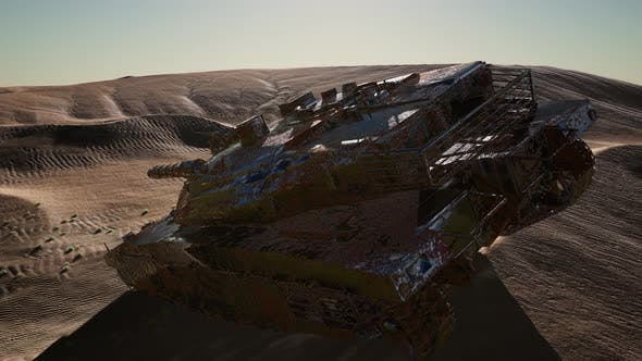 Thumbnail for Militairy Tanks Destructed in the Desert at Sunset