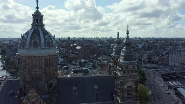 Thumbnail for Flight in Between 2 Chuch Towers of Basilica of Saint Nicholas, Amsterdam, Aerial Forward
