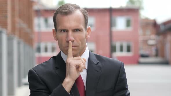 Thumbnail for Silent, Silence Gesture by Businessman