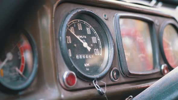 Old Truck Dashboard, Speedometer, and Other Indicators. Vintage Military Vehicle