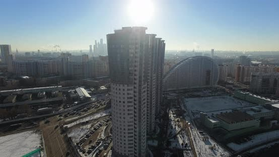 Aerial Winter Cityscape of Moscow with Modern Apartment Buildings, Russia