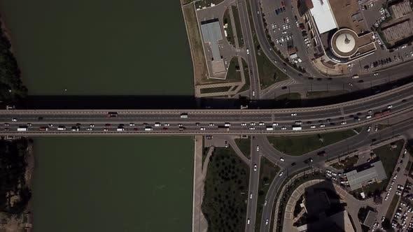 Thumbnail for Drone's Eye View -  Aerial Car Driving on a Car Bridge.