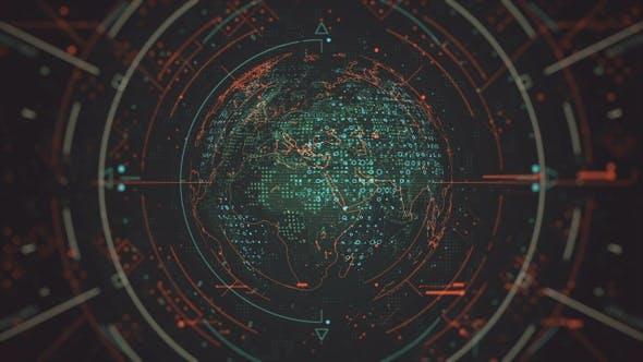 Thumbnail for Futuristischer rotierender Globus mit hervorgehobenen Elementen 4K