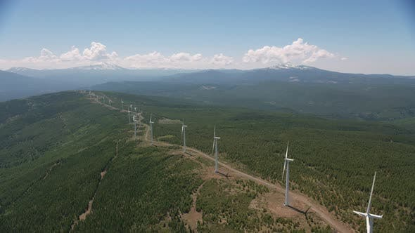 Aerial view of Wind Turbines.