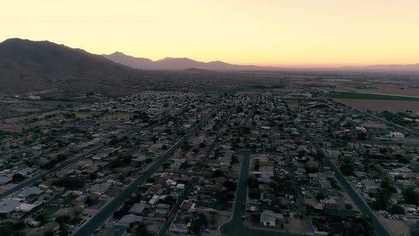Thumbnail for Arizona Neighborhoods Aerial With Sunset On Desert Mountains
