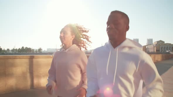Thumbnail for Jogging Together On Sunny Morning