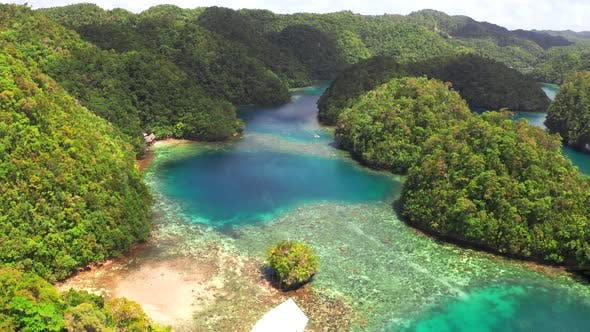 Cover Image for Aerial View of Sugba Lagoon. Beautiful Landscape with Blue Sea Lagoon, National Park, Siargao Island