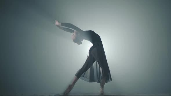 Cover Image for Young Graceful Ballerina Dancing Elements of Classical Ballet in the Dark with Light and Smoke on