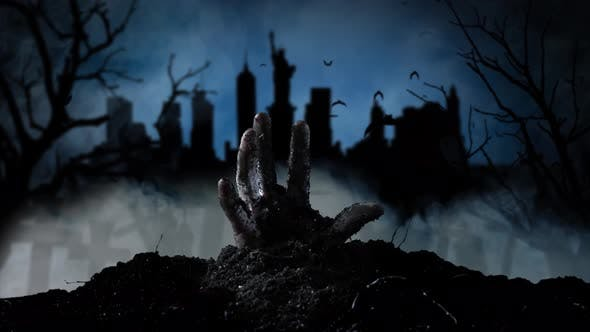 Thumbnail for Hand of a Zombie Comes Out of the Ground From Behind Bats Silhouettes of Houses