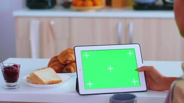 Searching Recipe on Table Computer with Green Mockup