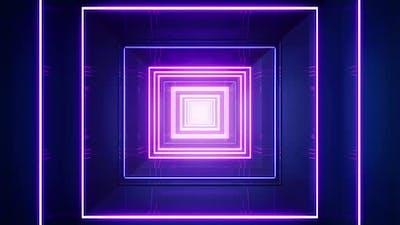 Neon Light Square Tunnel Loop