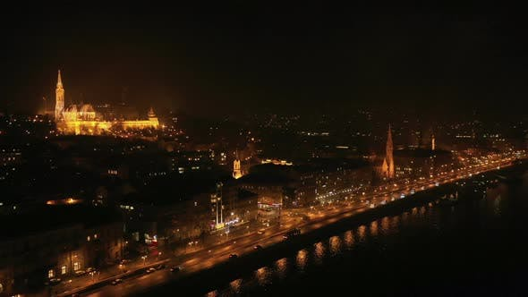 Thumbnail for Night Aerial View Budapest City