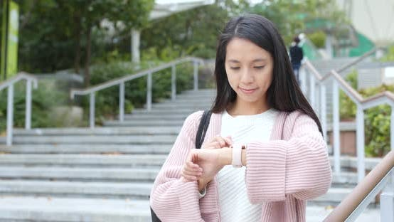 Thumbnail for Woman using smart watch at outdoor