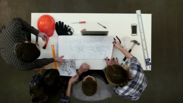 Thumbnail for Group of Young Architects Working on Drawings