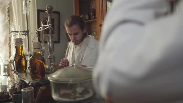 Cover Image for Young Concentrated Man Checking Medicines in Ancient Pharmacy. Guy Writing with Feather Pen When