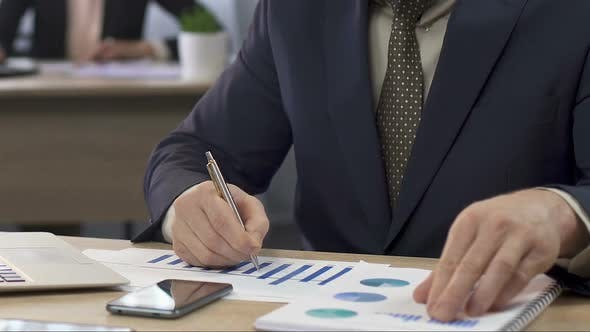 Thumbnail for Financial Director Analyzing Two Charts and Making Notes, Businessman at Work