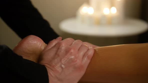 Thumbnail for Traditional Oriental Aroma Therapy. Woman Relaxing in Spa Salon, Close Up Macro Massage Professional