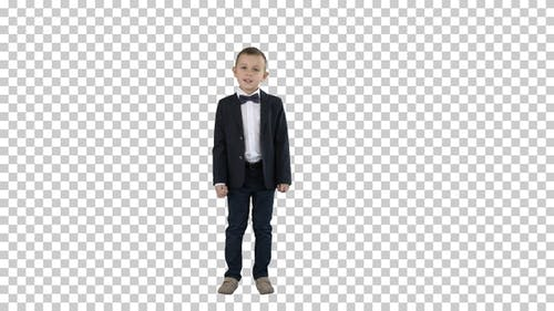 Boy in A Suit Walks in A Frame and Starts Talking, Alpha Channel