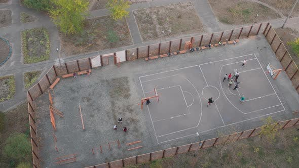 Streetball on the Street Playground. Timelapse
