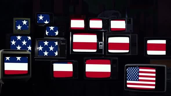 USA Flag and Retro Televisions. Blue Dark Tone.