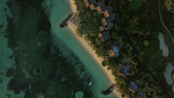 Thumbnail for Aerial Shot of Island Oceanfront with Villas, Mauritius