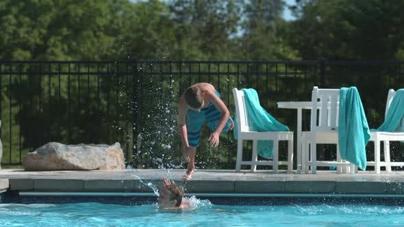 Thumbnail for Jumping into pool in super slow motion
