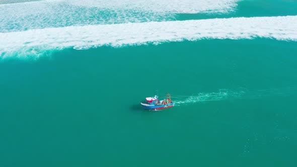Thumbnail for Fishing Boat Floating on Ocean Waves Near Shore