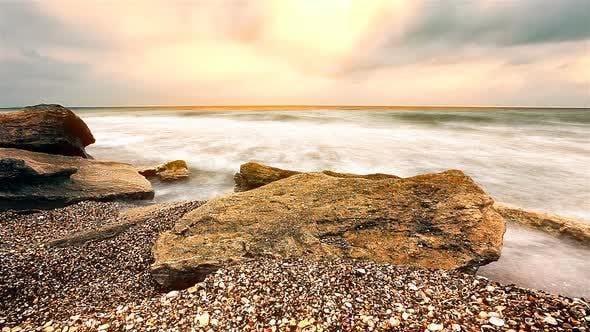sea waves landscape at sunset background