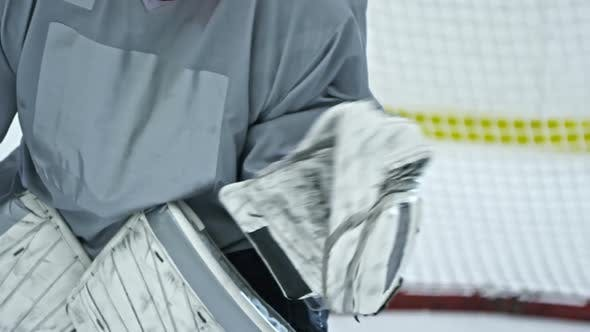 Thumbnail for Hockey Goaltender Making Save with Glove