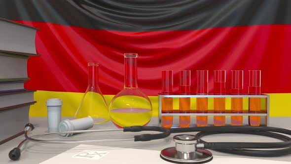 Clinic Laboratory Equipment on German Flag Background