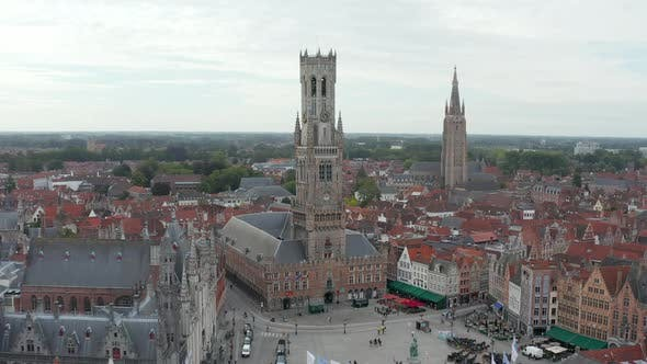 Thumbnail for Bruges, Belgium Belfry Belltower Establisher Wide View From Aerial Perspective