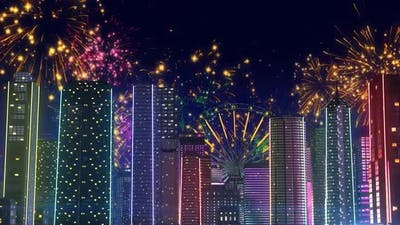City Light With Fireworks