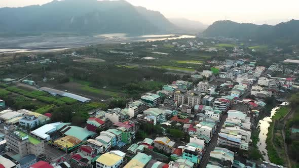 Aerial shot of a small town in central Taiwan