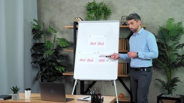 Business man coach shows marker diagram speak teaches students online video call