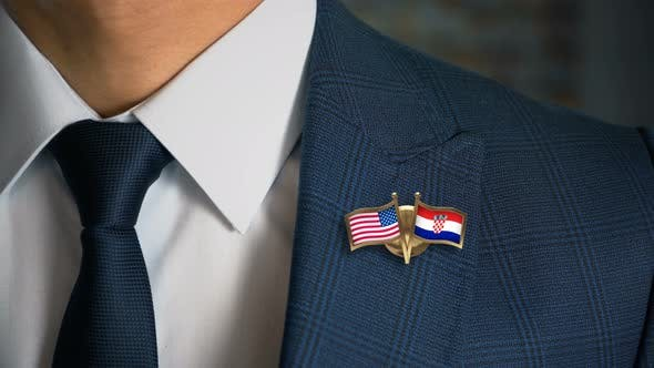 Thumbnail for Businessman Friend Flags Pin United States Of America Croatia