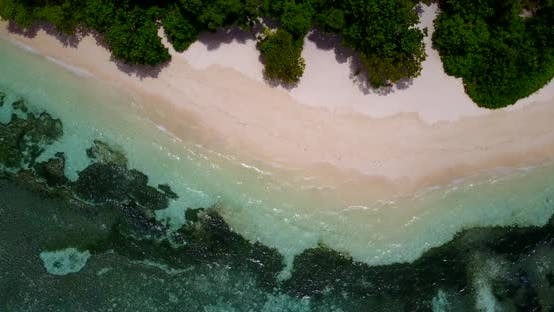 Thumbnail for Wide overhead abstract view of a white paradise beach and aqua blue water background