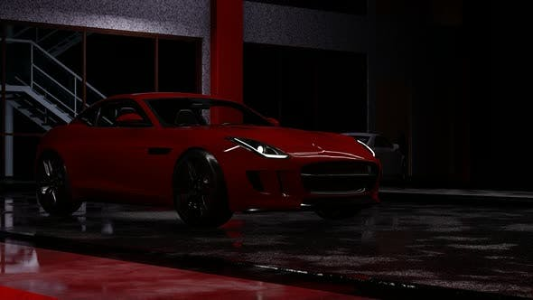 Thumbnail for Red Sports Car Standing in a Parking Lot