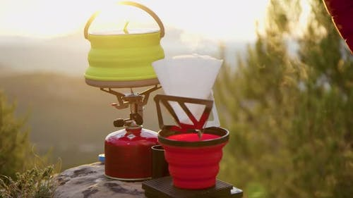 Camping Cooking Gear Camp Spot in Cinematic Light
