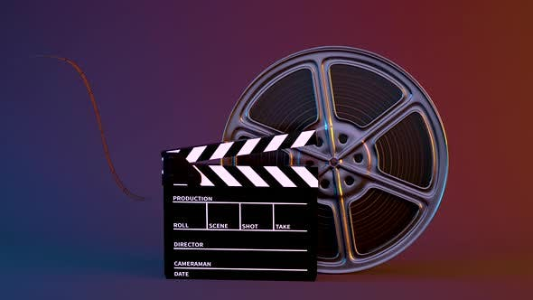Thumbnail for Clapper board and rotating film tape.
