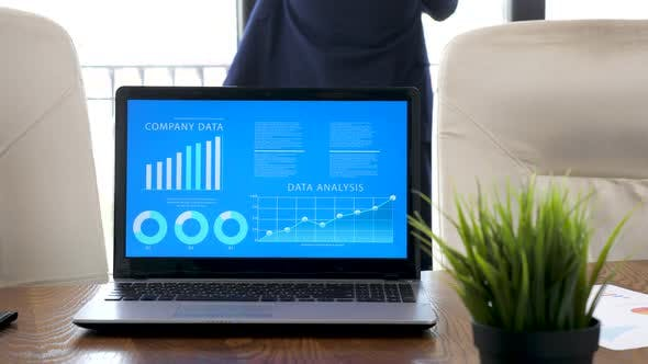 Thumbnail for Laptop Displaying Company Data and Analysis