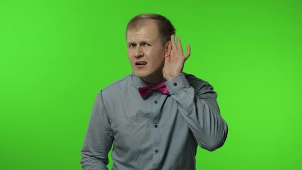 Thumbnail for Confused Man Having Hearing Problems, Asking Say Louder, Difficult To Listen Quiet Talk. Chroma Key