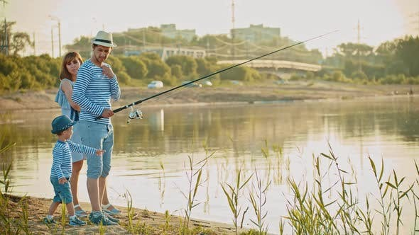 Thumbnail for Family on Fishing - Father Holding a Fishing Rod