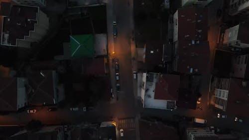 Aerial Drone Nigth Traffic Top View