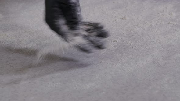 Thumbnail for Flour Falling From Hand in  Slow Motion. Close-up of Making and Prepares Flour for Homemade Bakery.