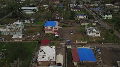 Drone shot of Hurricane Maria aftermath in Puerto rico.4K