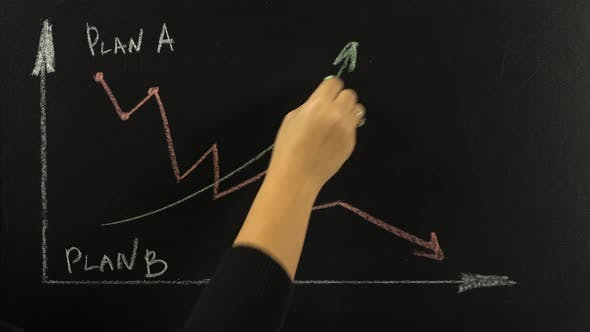 Girl on the Blackboard on the Chart Draws a Line of Growth in Green Chalk