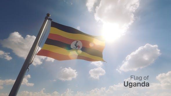 Uganda Flag on a Flagpole V2