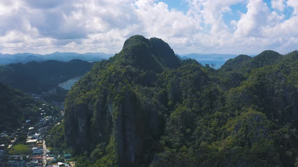 Thumbnail for Seascape with Mountains Rocks View From Above in El Nido, Palawan, Philippines