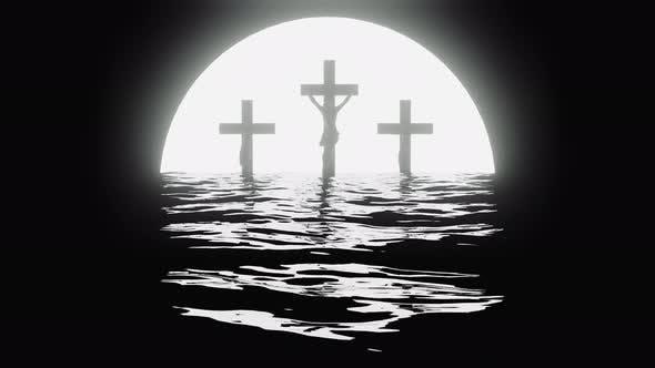 Thumbnail for Three Crucifix Crosses At Sunset At Sea.