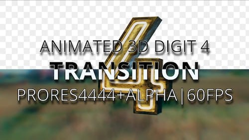 Animated digit 4 transition UHD 60fps